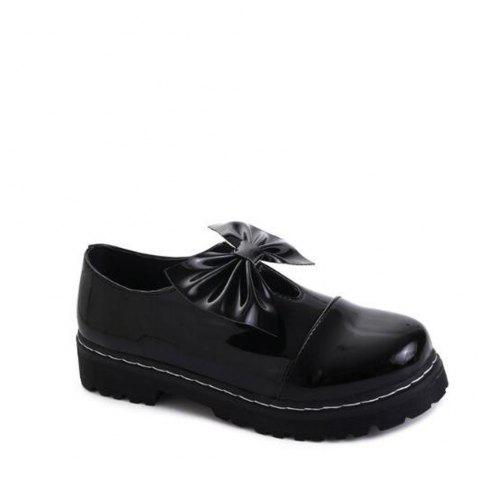 Bowknot Decorated Slip On Shoes - BLACK 37