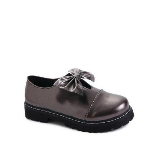 Bowknot Decorated Slip On Shoes - GUN METAL 35