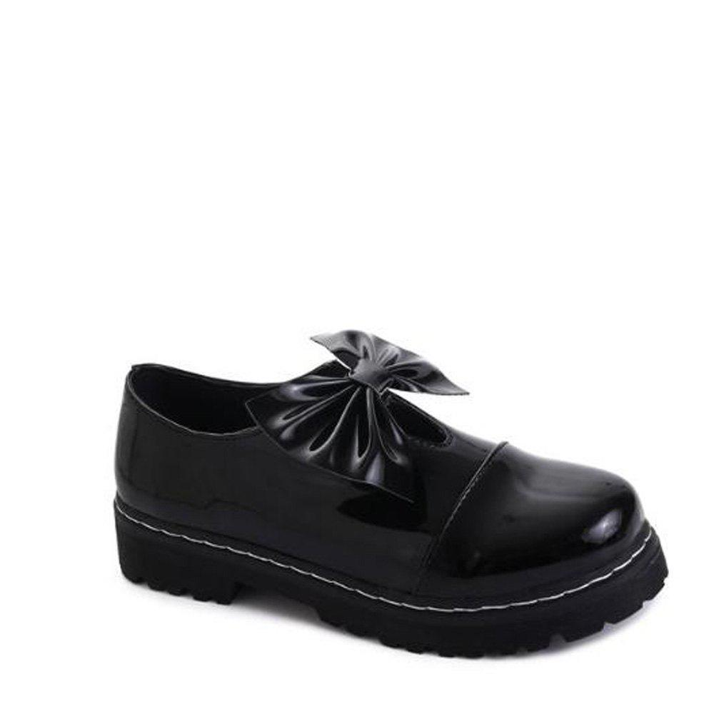 Bowknot Decorated Slip On Shoes - BLACK 36
