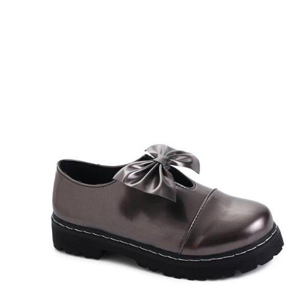 Bowknot Decorated Slip On Shoes - GUN METAL 36