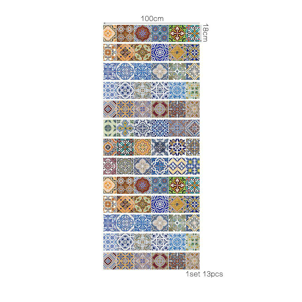 Colorful Ceramic Tiles Patterns 13 Pieces Stair Sticker Wall Decor - MIX COLOR