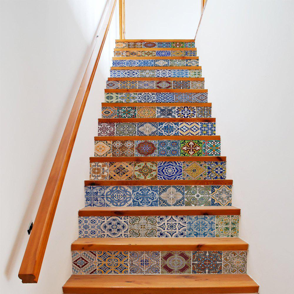 Colorful Ceramic Tiles Patterns Pieces Stair Sticker Wall - Colored ceramic tiles for sale
