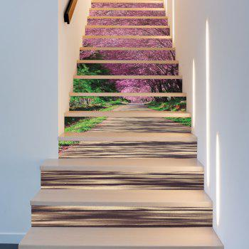 Sakura Trail Style 13 Pieces Stair Sticker Wall Decor - MIXED COLOR MIXED COLOR