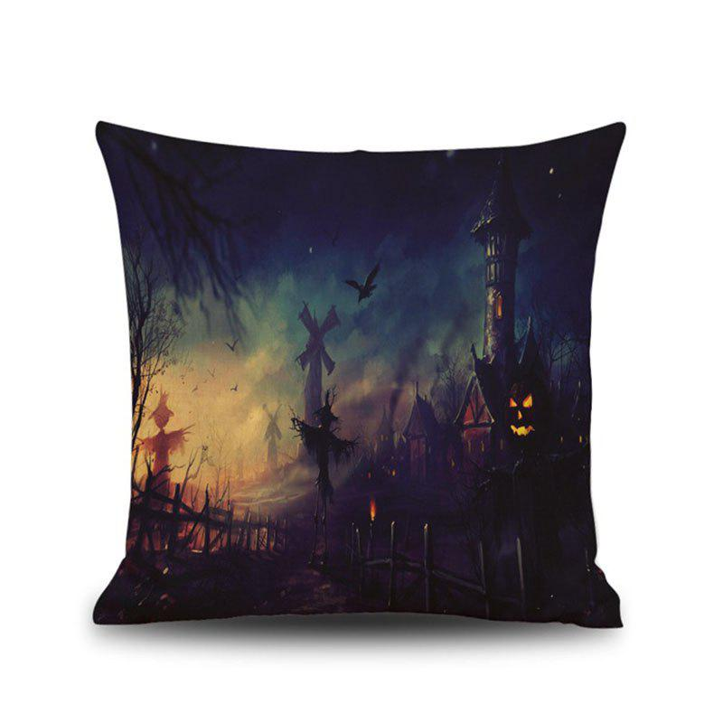 Halloween Night Oil Painting Square Linen Decorative Throw Pillow Case Kawaii Cushion Cover lotus printed linen home decor throw pillow cover