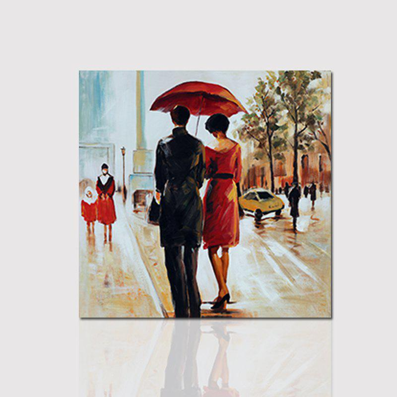 Hx-Art Unframed Canvas Decorative Painting Umbrella Couple Living Room Bedroom Hallway Painting - COLORMIX 80CMX80CM