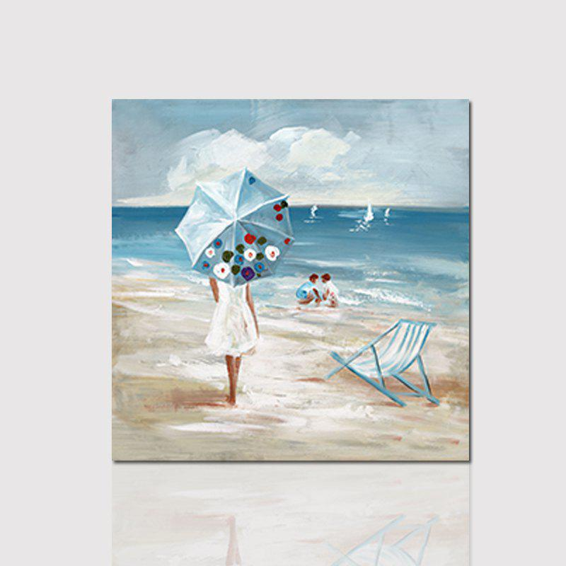 Hx-Art Unframed Canvas Umbrella Girl Next To The Sea Decorative Paintings - COLORMIX 80CMX80CM
