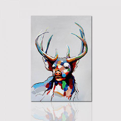 Hx-Art No Frame Canvas Color Deer Head Animal-B Decorative Painting - COLORMIX 70CMX100CM