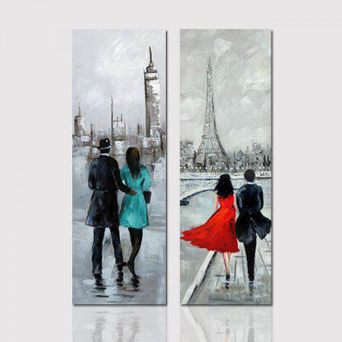 Hx-Art No Frame Canvas Couple Two Sets of Painting Living Room Corridor Bedroom Paintings - COLORMIX 40CMX120CMX2