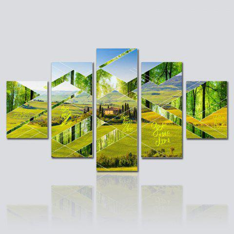 Hx-Art No Frame Toile Five-Set Peinture Green Pastoral Landscape Living Room Décoration Peintures - multicolore