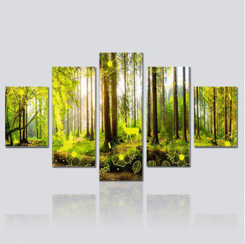 Hx-Art No Frame Canvas Five-Set Painting Green Forest Landscapes Decorated The Living Room Paintings - COLORMIX
