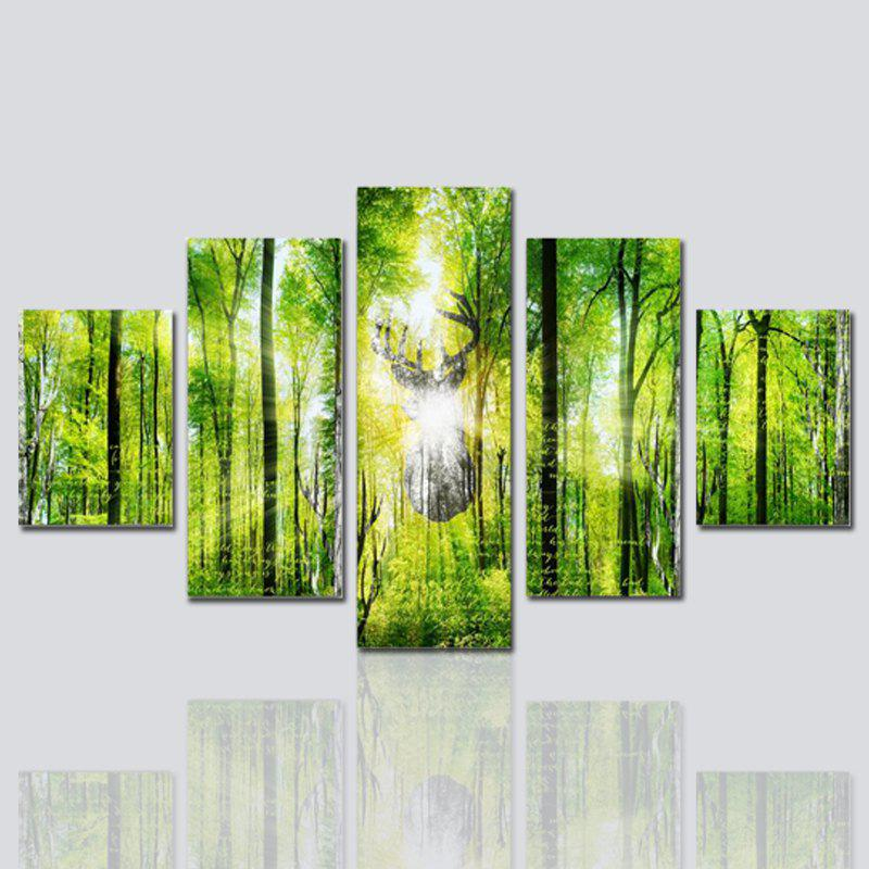 Hx-Art No Frame Toile Five-Set Peinture Green Wood Living Room Décoration Peintures - COULEUR MELANGEE