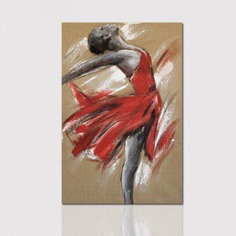 Hx-Art Frameless Picture Frame Canvas-D Decorative Painting Dancing Girl In Red Dress - COLORMIX 80CMX120CM