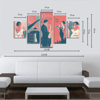 Hx-Art No Frame Canvas Five Sets of music Background Characters Living Room Sofa Decorative Paintings - COLORMIX