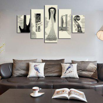 Hx-Art No Frame Five-Set Painting Abstract Black And White Still-Living Room Decoration Paintings - COLORMIX