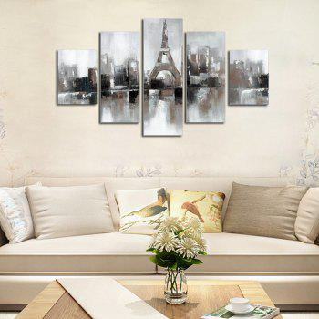 Hx-Art No Frame Five-Set Painting Abstract Tower Street Decorative Paintings - COLORMIX