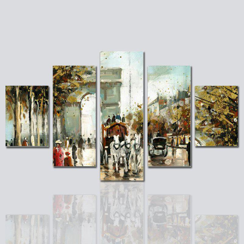 Hx-Art No Frame Five-Set Painting Abstract Street Living Room Decorative Paintings - COLORMIX
