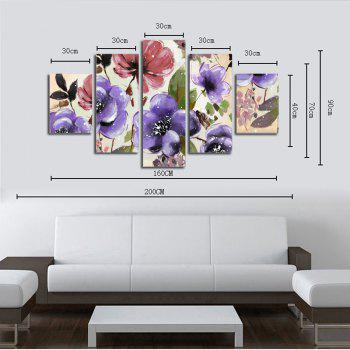 Hx-Art No Frame Toile Five-Set Peinture Fleur Fen Salon Peintures Décoration - multicolorcolore 30 X 42 2PCS + 30 X 70 2PCS + 30 X 90