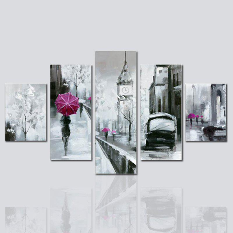 Hx-Art No Frame Canvas Five-Set Painting Building Street Decorative - COLORMIX 30 X 42 2PCS + 30 X 70 2PCS + 30 X 90