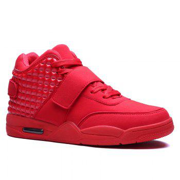 Breathable Solid Color Rivets Sneakers - RED 41