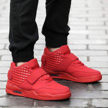 Breathable Solid Color Rivets Sneakers - RED RED