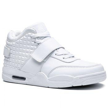 Breathable Solid Color Rivets Sneakers - WHITE WHITE