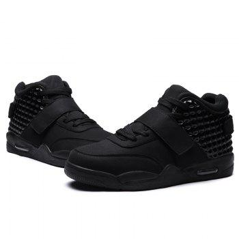 Breathable Solid Color Rivets Sneakers - 43 43