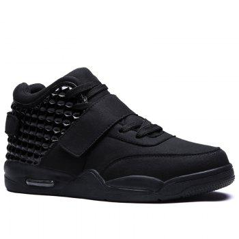 Breathable Solid Color Rivets Sneakers - BLACK 44