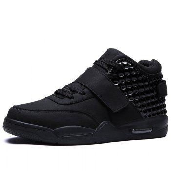 Breathable Solid Color Rivets Sneakers - BLACK BLACK