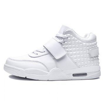Breathable Solid Color Rivets Sneakers - WHITE 44