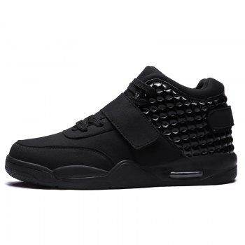 Breathable Solid Color Rivets Sneakers - BLACK 46