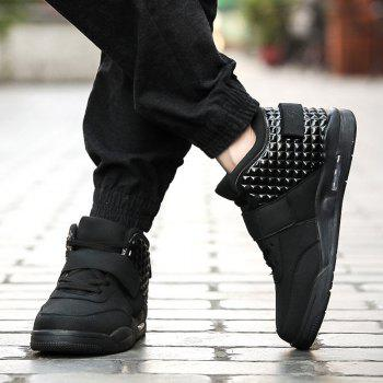 Breathable Solid Color Rivets Sneakers - BLACK 42