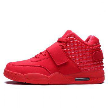 Breathable Solid Color Rivets Sneakers - RED 46
