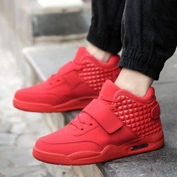 Breathable Solid Color Rivets Sneakers - RED 40