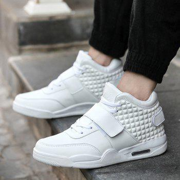 Breathable Solid Color Rivets Sneakers - WHITE 46