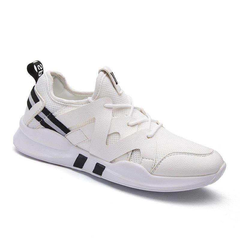 patchwork letter printed athletic shoes white in casual