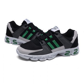 Color Block Mens Sports Shoes - GREY/GREEN 44