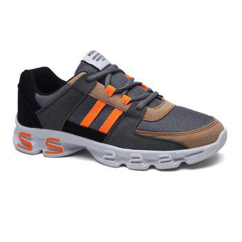 Color Block Mens Sports Shoes - GREY AND ORANGE 44