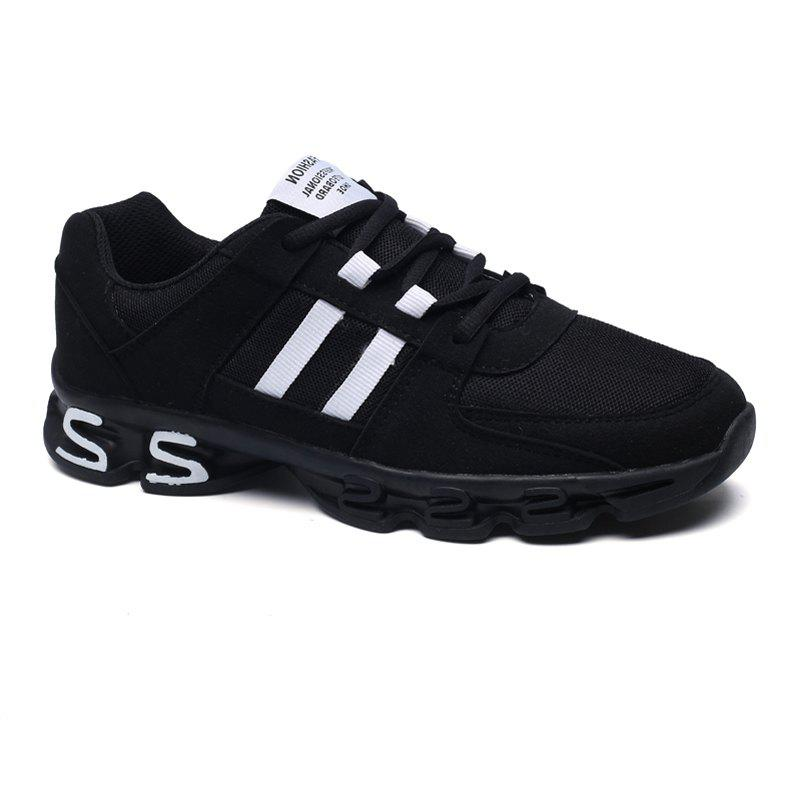 Color Block Mens Sports Shoes - BLACK / WHITE 43