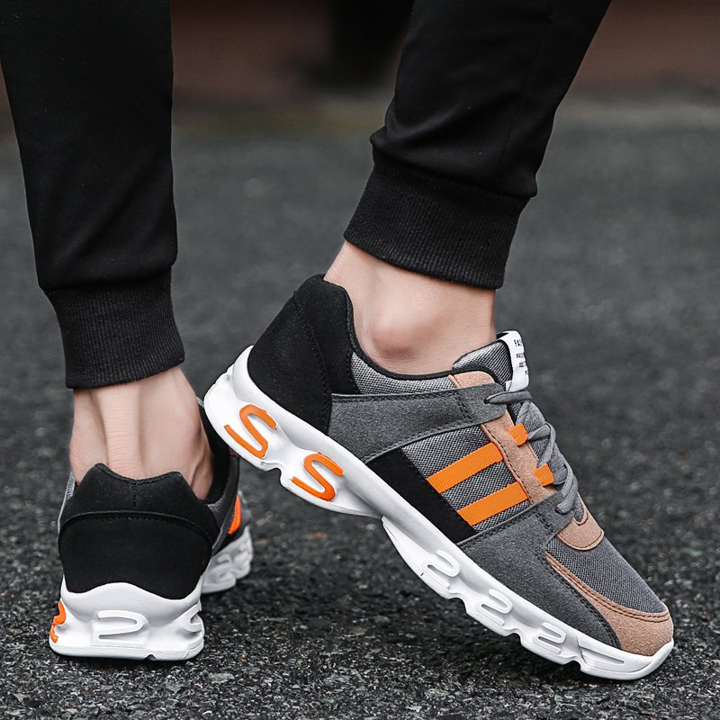 Color Block Mens Sports Shoes - GREY/ORANGE 39