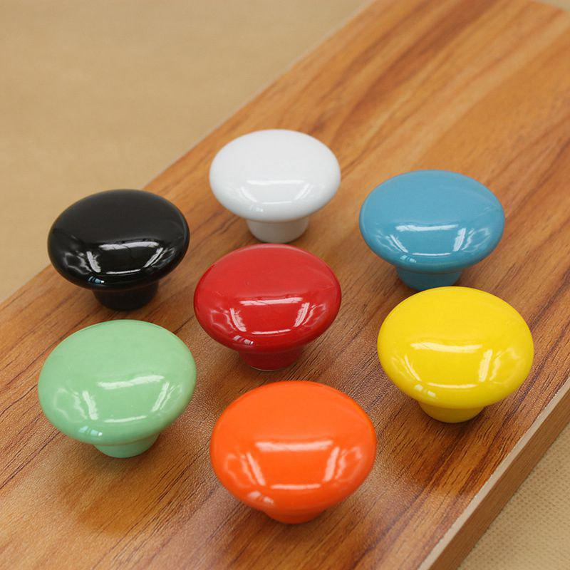 7PCS Candy Color Round Furniture Knobs Ceramic Drawer Knob Cabinet Pulls Cabinet - COLORFUL