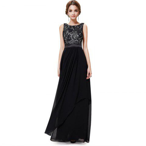 df4d765e137 Elegant Long Cocktail Dress - BLACK M