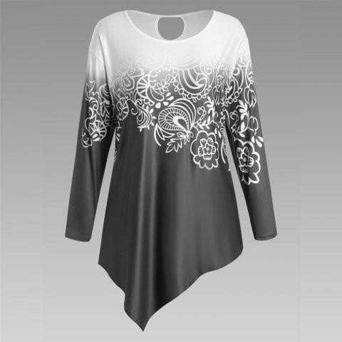 Autumn New Printing Irregular Long-Sleeved Large Size Female T-Shirt - BLACK 3XL