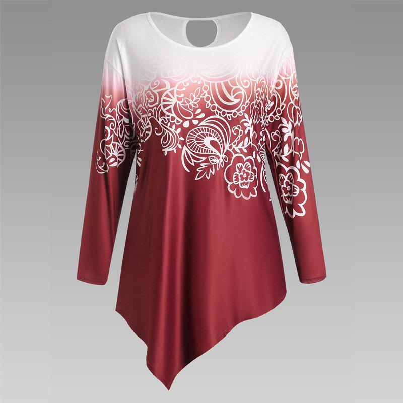 Autumn New Printing Irregular Long-Sleeved Large Size Female T-Shirt - RED 3XL