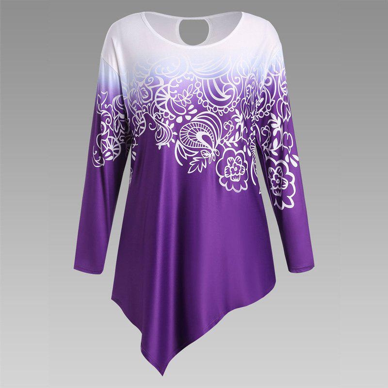 Autumn New Printing Irregular Long-Sleeved Large Size Female T-Shirt - PURPLE 3XL