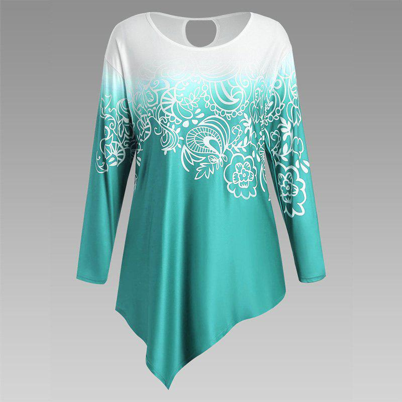 Autumn New Printing Irregular Long-Sleeved Large Size Female T-Shirt - GREEN 3XL