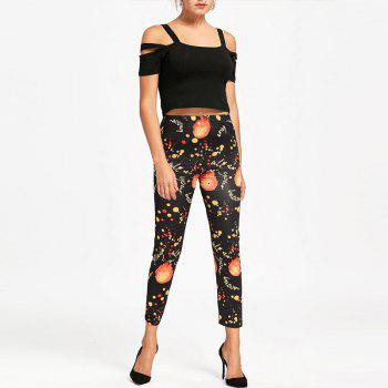 Halloween Pumpkin Print Pants - BLACK BLACK
