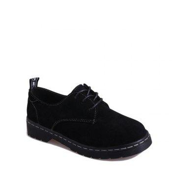 Fashionable Autumn Frosted Small Leather Shoes Womens Flat Shoes College Wind Belt Leisure Shoes Vintage Block British Style - BLACK 40