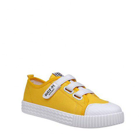 Letter Printed Solid Color Canvas Flat Shoes - YELLOW 37