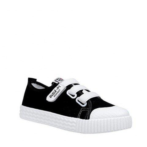 Letter Printed Solid Color Canvas Flat Shoes - BLACK 35