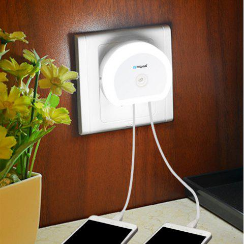 Brelong Creative Dual USB Charger / Night Light DC 5V 110 - 240V - WHITE EU